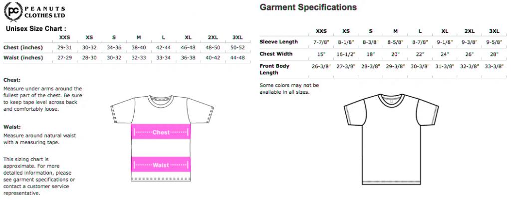 Size T-Shirt PeanutClothes